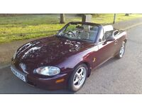 YEAR 2000 MAZDA MX5 ICON LIMITED EDITION. FULL MOT 49000 MILES. 1800cc 6 SPEED. BURGUNDY RED. VGC.