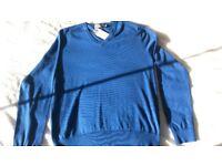 Ralph Lauren Polo Blue Cotton Jumper - NEW (MEDIUM)