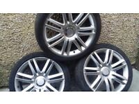 18 inch AUDI SKODA VW SEAT ALLOYS WITH GOOD TYRES 5 STUD MULTIFIT 5 × 100 AND 5 × 112