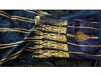 Stunning asian dress - Navy Blue and Bronze Gold
