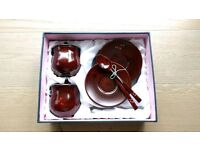 Korean handpainted lacquered wood and mother of pearl teacup set