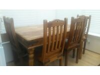 Jali Jaipur Solid Wood Sheesham Table and 4 Chair Set. Pre-Owned