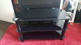 Black glass n chrome tv stand