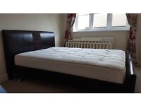 Brown leather bed and mattress for sale