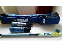 Slazenger hockey stick, Byte shin guards, and Byte bag