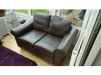 2 seater Brown Leather Sofa in great condition