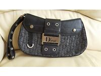 Amazing authentic small handbag black and silver leather - CHRISTIAN DIOR