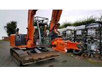 Tree shear wood chipper digger