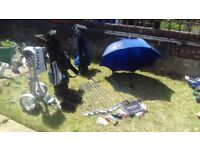 GOLF CLUBS Full set, peter allen brand brilliant condition comes with 2 bags wheels and umbrella.