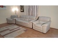 Ex-display Natuzzi Bellini light beige leather 3 seater sofa and 2 armchairs