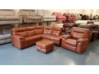 Ex-display DFS Siesta brandy corner sofa, electric chair and footstool