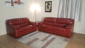 Ex-display Carolina red leather 3 + 2 seater sofas