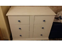 Pine chest of drawers, painted white