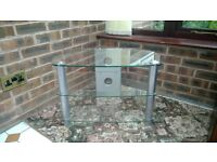 Glass and chrome tempered glass TV stand