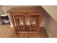 Laura ashley solid oak breakfast bar and x2 stools excellent condition