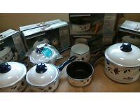 Copenhagen Cookware set. Porcelain on Steel Cookware with Teflon interiors