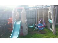 Swing set. Slide. Climbing frame