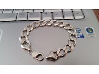 Vintage Heavy Solid Silver Bracelet 8in