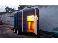 Fully refurbished Rice horse box door mobile food drinks Prosecco bar Organic food catering trailer