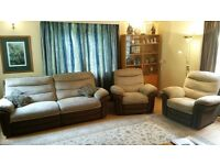 DFS San Remo 3 Seater electric recliner with 2 x matching electric reclining chairs Mint Condition