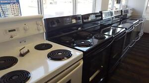 Used SALE - BLACK  SMOOTH TOP STOVE $450 with WARRANTY - 9267-50 Street Edmonton - WHITE CERAMIC TOP STOVES FROM $375