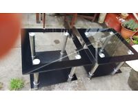 2 Black & Silver Glass Coffee / Side Tables - £15 for quick sale
