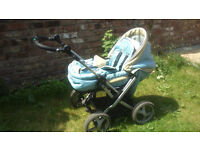 Teutonia Mistral pram with all extras + buggy board