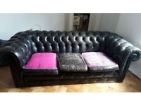 Black Leather Chesterfield 3 Seater Sofa