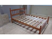 Wooden slatted base double bed with mattress