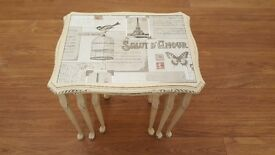 Shabby chic ~ Vintage ~ Retro ~ nest of three glass top coffee tables in cream