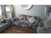 Crushed velvet 3+2 sofa and swivel chair