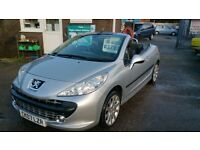 2007 CONVERTIBLE PEUGEOT 207 GT CC 1.6 SILVER ONLY 46K WITH S/HISTORY OCT 2017 MOT NO ADVISORYS CD +