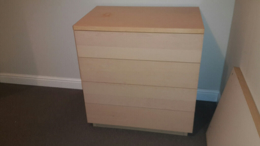 Chest of Drawers plus bedside set for saleBexleyheathin Bexleyheath, LondonGumtree - Chest of drawers for sale x4 Drawers Color is maple ( similar to natural wood, but more matt white sort of...?!) size W 810 x D 520 x H 850 Proper solid chest!! , not like the IKEA cheap..... you know ) Contemporary ,nice and clean design, no handles...