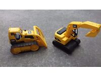 SET OF TWO LARGE OUTDOOR TOYS CAT DIGGER AND BULLDOZER FOR SAND PLAY