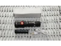 Outdoor Small Metal Torch Cree T6 Led 1x 18650 Battery and Build in USB Charger