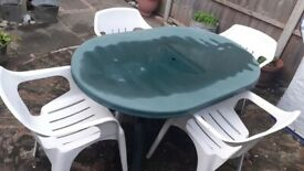 Durable Strong Waterproof Polypropylene Outdoor Garden 1 Large Oval Table & 4 Armchairs- £50-BARGAIN