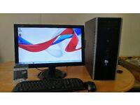SSD Fast HP 8000 Elite Business PC Desktop Computer & AOC