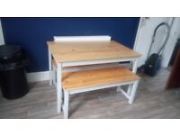 Beautiful solid oak TV stand, and table and bench set
