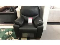 BLACK LEATHER MANUAL RECLINING ARMCHAIR