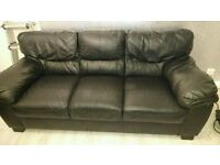 Black leather 3 seater and 2 seater sofa only 2years old