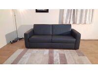 Ex-display Natuzzi Arona dark grey A-Grade leather 2.5 seater sofa bed