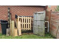 All dofferent bits of cut off wood timber sleepers pallets fence posts