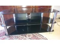 Black glass entertainment unit for sale: £15