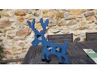 Blue Wooden Reindeer Photoframe