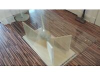 LARGE CONTEMPORARY SOLID MARBLE CREAM COFFEE TABLE BARGAIN
