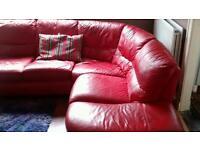 Red Leather corner suit