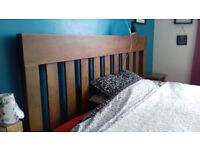 Solid reclaimed oak super king size bed frame and hypnos mattress