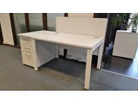 2 White single office/business desk/tables
