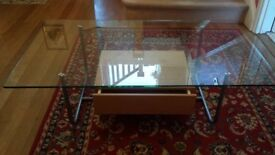 Glass coffee table with draw