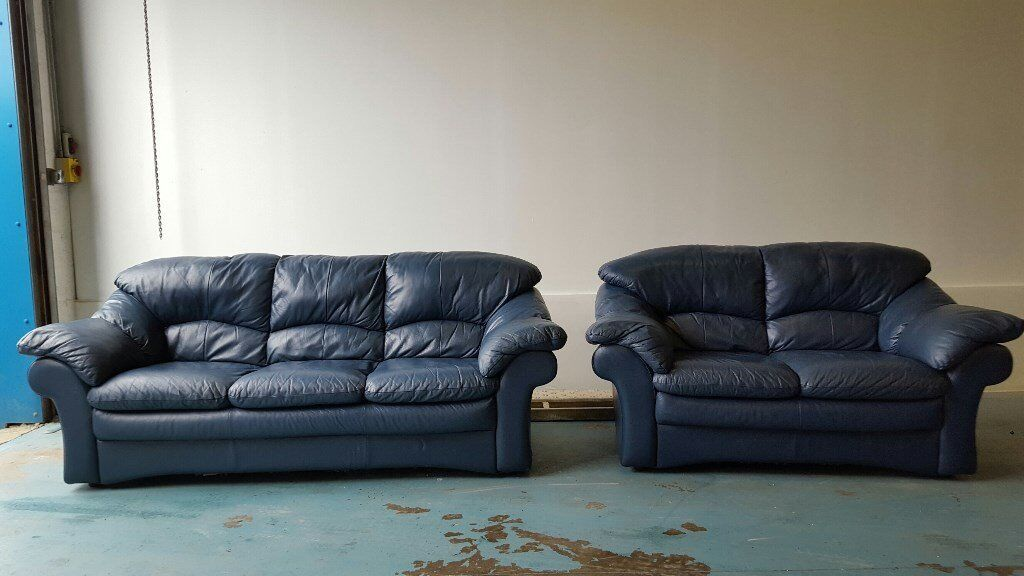 ITALIAN BLUE LEATHER SOFA SET 3 SEATER & 2 SEATER SUITE / SETTEE MADE IN  ITALY